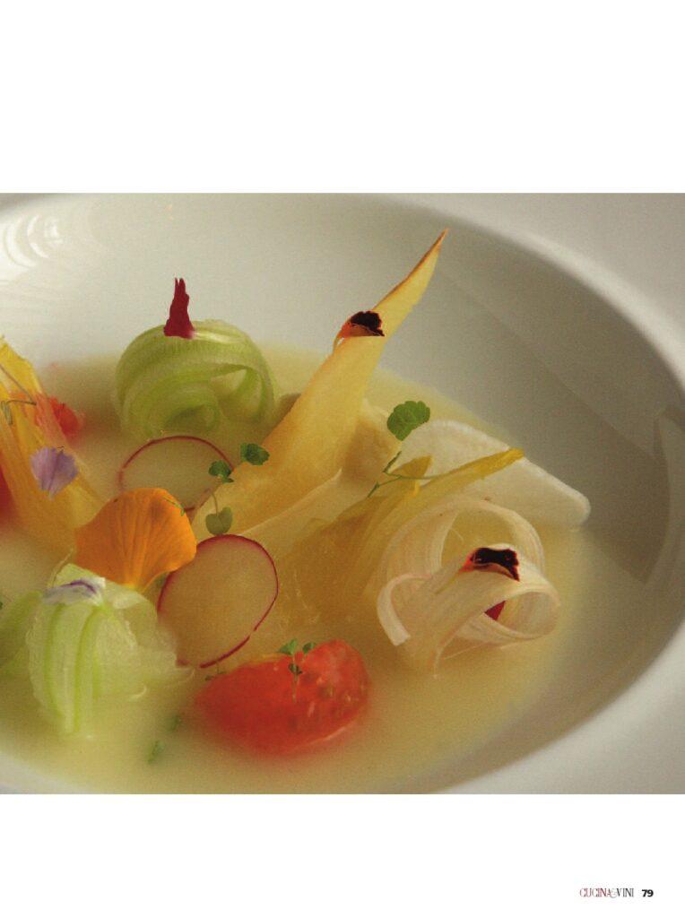 Verdura e frutta al Gin e fiori di coriandolo