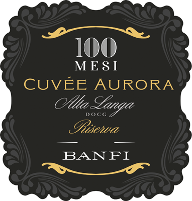 Etichetta di Alta Langa Riserva Cuvée Aurora 100 mesi Pas Dosé 2010 – Banfi – Piemonte – Sparkle 2021