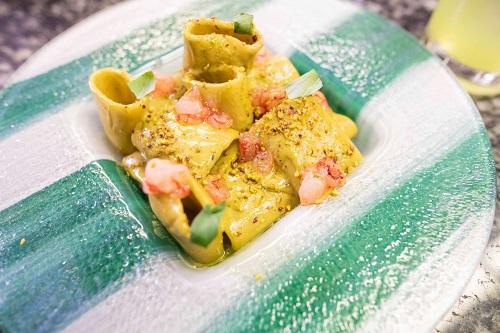 Paccheri con pistacchio di Raffadali e gamberi